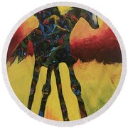 Red Canyon Warrior Round Beach Towel