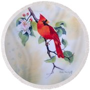 Red Cardinal  Round Beach Towel
