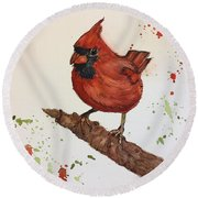 Round Beach Towel featuring the painting Red Cardinal by Lucia Grilletto