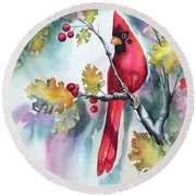 Red Cardinal With Berries Round Beach Towel