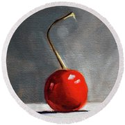 Round Beach Towel featuring the painting Red Cherry by Nancy Merkle