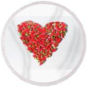 Red Chillie Heart II Round Beach Towel