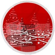 Red Christmas Trees Round Beach Towel by Aimelle
