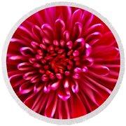 Red Chrysanthemum Round Beach Towel