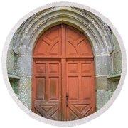 Red Church Door IIi Round Beach Towel by Helen Northcott
