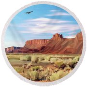 Red Cliff Eagle Round Beach Towel by Walter Colvin