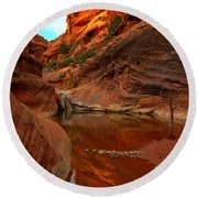 Red Cliffs Reflections Round Beach Towel
