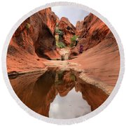 Red Cliffs Towering Wall Refelctions Round Beach Towel