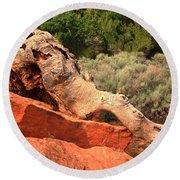 Red Cliffs Wooly Mammoth Round Beach Towel