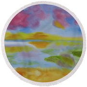 Cherry Sunset Round Beach Towel by Meryl Goudey