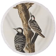 Red-cockaded Woodpecker Round Beach Towel by John James Audubon