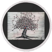Round Beach Towel featuring the drawing Red Colorado Love Tree by Aaron Bombalicki