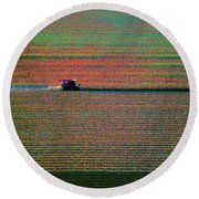Red Combine Harvesting  Mchenry Aerial Round Beach Towel by Tom Jelen
