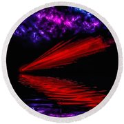 Red Comet Round Beach Towel by Naomi Burgess