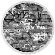 Red Construction Brick Wall And Spray Can Art Signatures Round Beach Towel