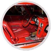 Red Corvette Stingray Round Beach Towel