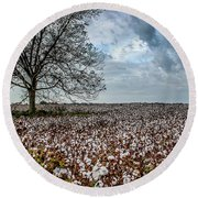 Red Cotton And The Tree Round Beach Towel