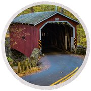 Red Covered Bridge In Lancaster County Park Round Beach Towel