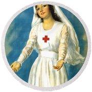 Red Cross Nurse - Ww1 Round Beach Towel