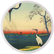 Red Crowned Cranes 1857 Round Beach Towel by Padre Art