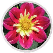 Red Dahlia Round Beach Towel
