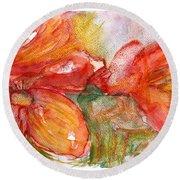 Red Dance Round Beach Towel by Jasna Dragun