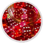Red Dice Spilling Out Round Beach Towel
