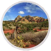 Red Dirt And Cactus In Sedona Round Beach Towel by James Eddy