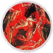 Red Distressed Round Beach Towel