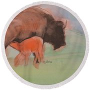 Red Dog Round Beach Towel