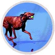 Red Dog Running Round Beach Towel