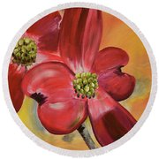 Red Dogwood - Canvas Wine Art Round Beach Towel