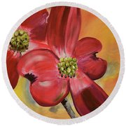Red Dogwood - Canvas Wine Art Round Beach Towel
