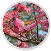 Red Dogwood Flowers Round Beach Towel by Eva Kaufman