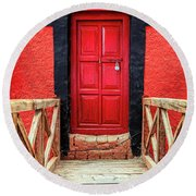 Round Beach Towel featuring the photograph Red Door At A Monastery by Alexey Stiop
