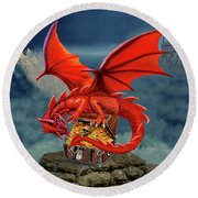 Red Dragon Guardian Of The Treasure Chest Round Beach Towel by Glenn Holbrook