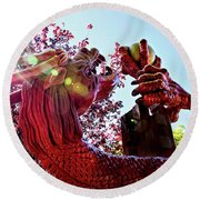 Red Dragon In Chinatown - Victoria, British Columbia Round Beach Towel by Peggy Collins