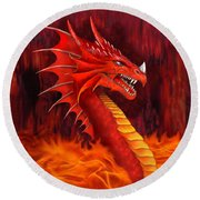 Red Dragon Terrifier Round Beach Towel by Glenn Holbrook