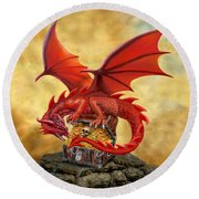 Red Dragon's Treasure Chest Round Beach Towel
