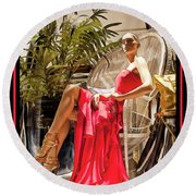 Round Beach Towel featuring the photograph Red Dress - Chuck Staley by Chuck Staley