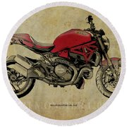 Red Ducati Monster 2014, Man Cave Decoration Round Beach Towel