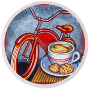 Red Electra Delivery Bicycle Cappuccino And Amaretti Round Beach Towel