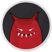 Red Evil Monster With Pointy Ears Round Beach Towel