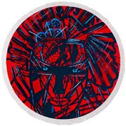 Round Beach Towel featuring the painting Red Exotica by Natalie Holland