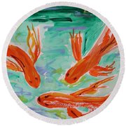Round Beach Towel featuring the painting Red Eye Koi by Mary Carol Williams