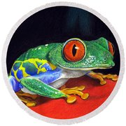 Red Eyed Tree Frog Round Beach Towel