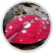Red Fall Leaf Round Beach Towel