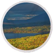 Red Farm House In Evening Light Round Beach Towel