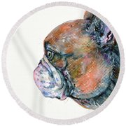 Round Beach Towel featuring the painting Red Fawn Frenchie by Zaira Dzhaubaeva
