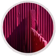 Red Fence And Wall Round Beach Towel